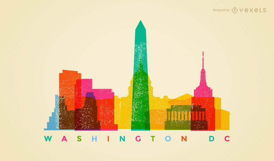 900x529 Graphic Design Washington Dc Colorful Washington Dc Skyline Vector