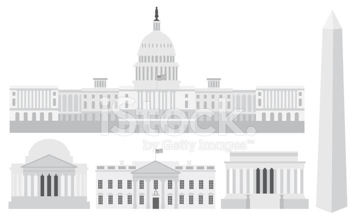 711x440 Edificios Del Capitolio De Washington Dc Y Memoriales Vector