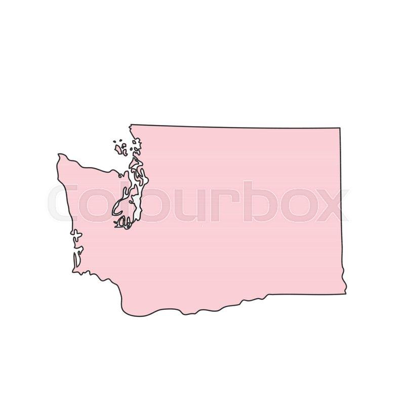 800x800 Washington Map Isolated On White Background Silhouette. Washington