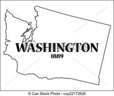 450x380 Washington State And Date. A Washington State Outline With The