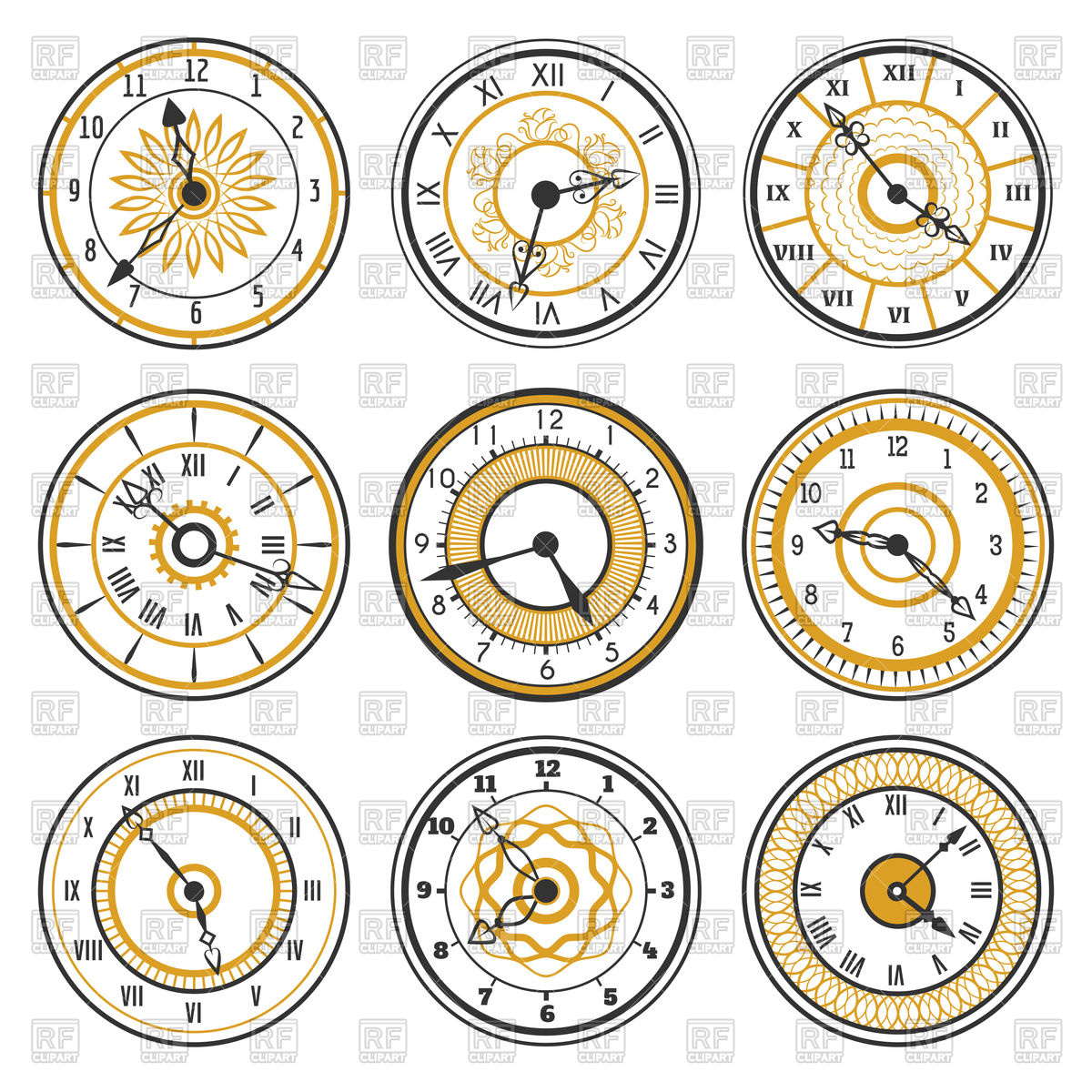 1200x1200 Set Of Watch Face Icons On White Background Vector Image Vector