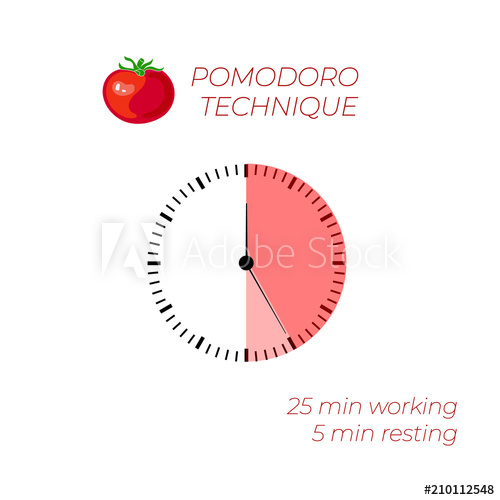 500x500 Vector Illustration Technique Pomodoro, Time Management, Watch