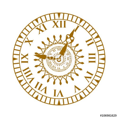 500x500 Watch Face Antique Clock Vector Illustration. Stock Image And