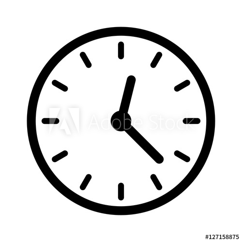 500x500 Clock Face, Clockface Or Watch Face With Hands Line Art Icon For