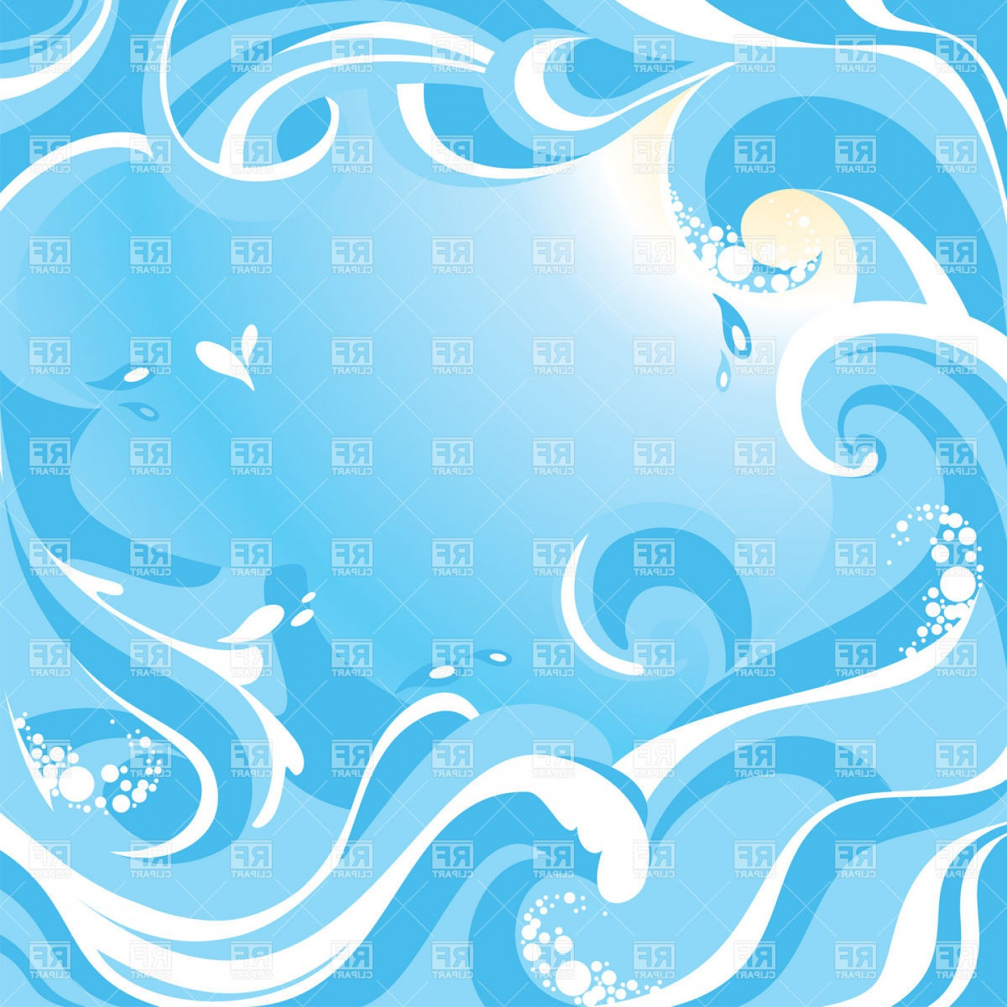 1440x1440 Abstract Water Background With Sea Waves Vector Clipart Shopatcloth