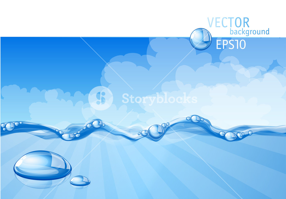 1000x695 Blue Water Background. Vector. Royalty Free Stock Image