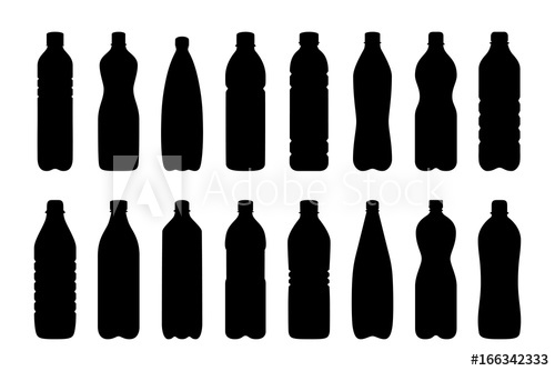 500x334 Set Of Silhouettes Of Water Bottles, Vector Illustration