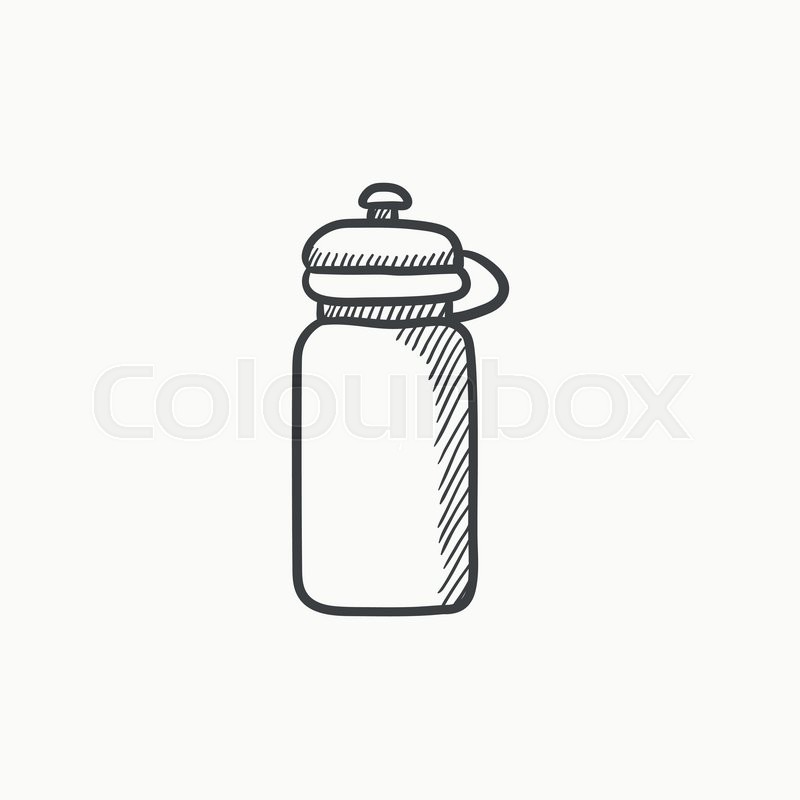 800x800 Sport Water Bottle Vector Sketch Icon Isolated On Background. Hand