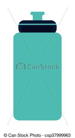 255x470 Blue Sports Water Bottle Vector Illustration Flat Style Design.