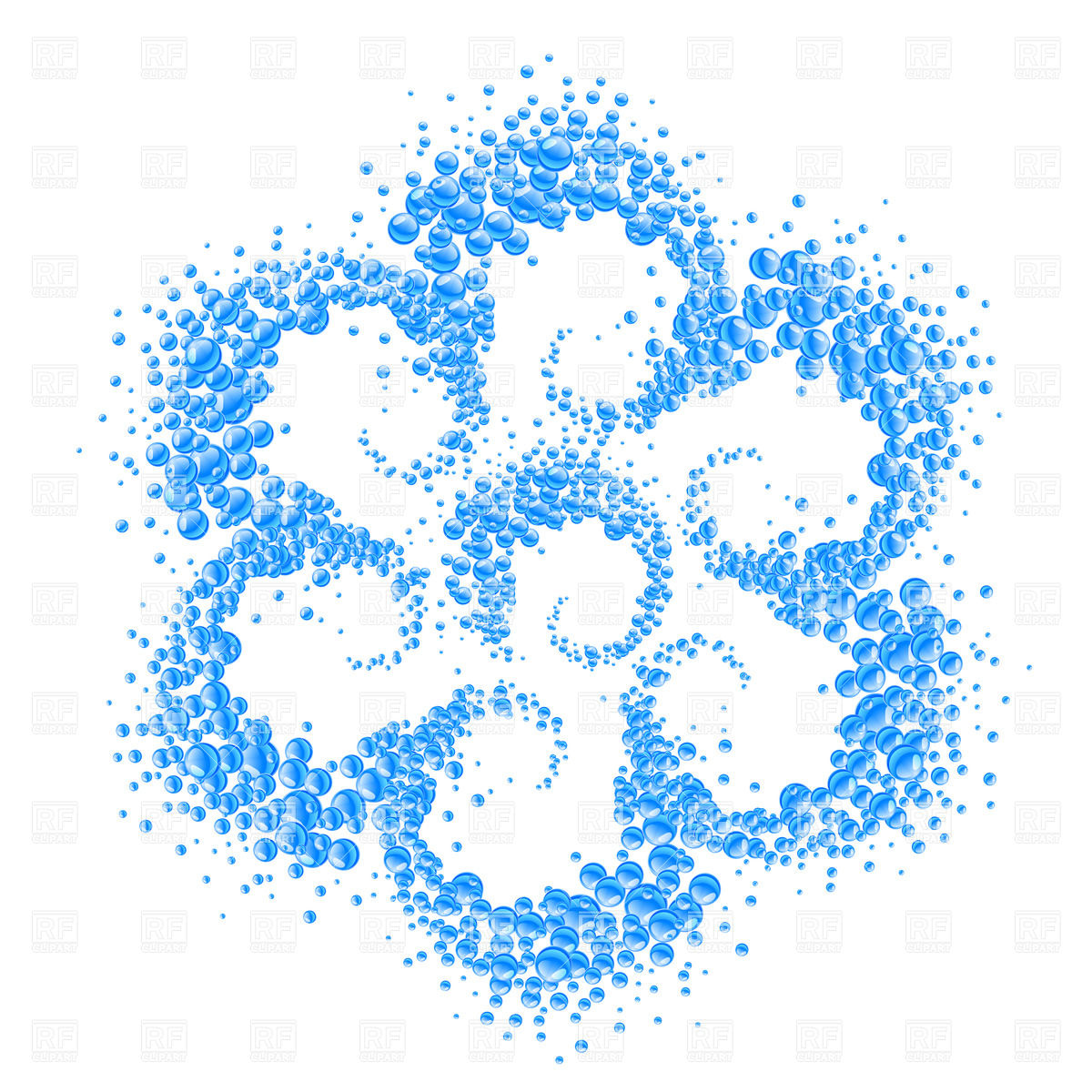 1200x1200 Abstract Flower Made Of Blue Water Bubbles Vector Image Vector