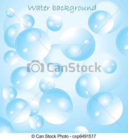435x470 Blue Water With Bubbles Vector Illustration.
