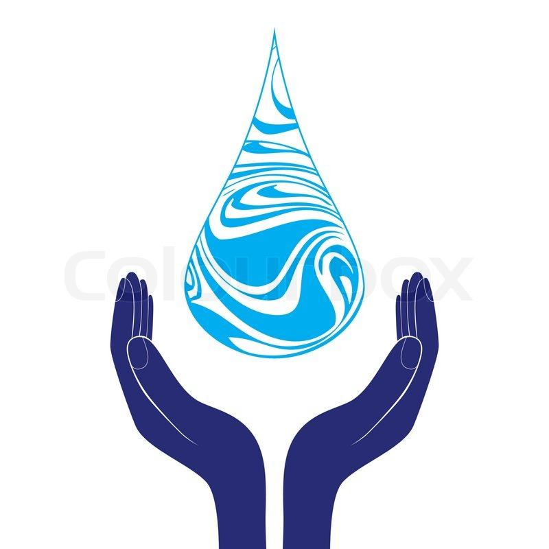 800x800 Save Water Sign Icon. Hand Holds Water Drop Symbol. Environmental