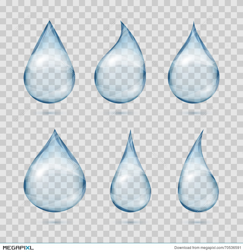 800x830 Falling Transparent Water Drops Vector Set On Plaid Background