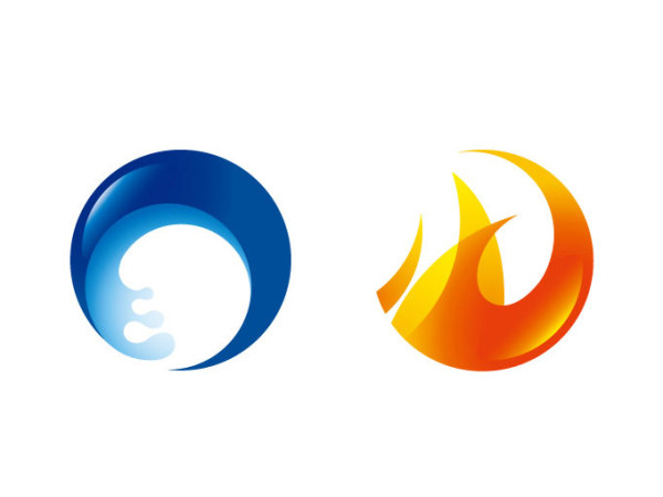 600x450 Fire And Water Circular Icon Vector Free Download