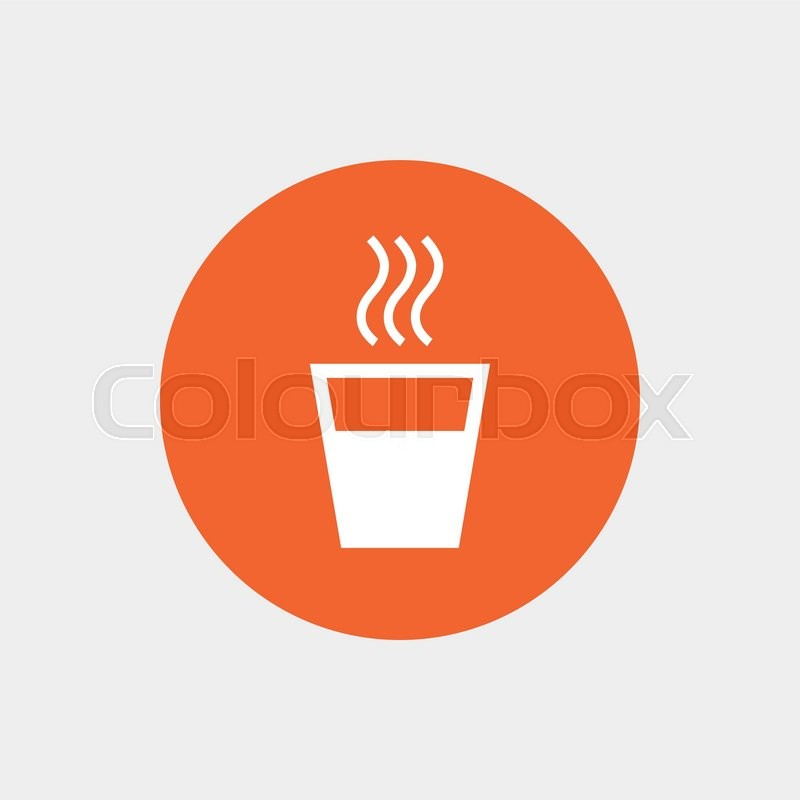 800x800 Hot Water Sign Icon. Hot Drink Glass Symbol. Orange Circle Button