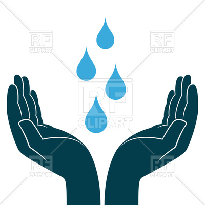 400x400 Blue Water Drops In Hands