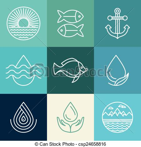 450x470 Vector Water Line Icons And Logos