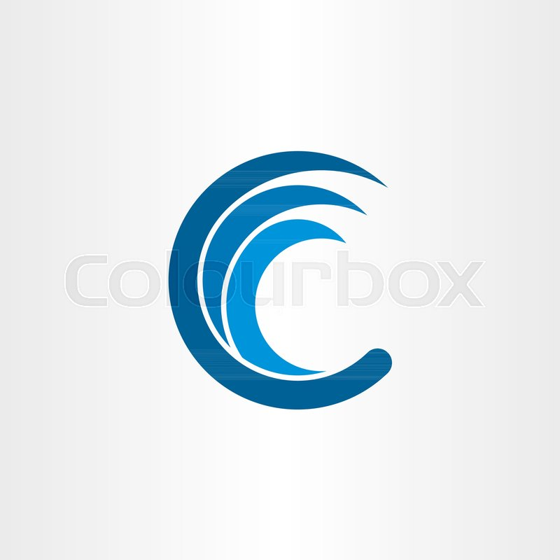 800x800 C Letter Logo Water Wave Blue Icon Vector Stock Vector Colourbox