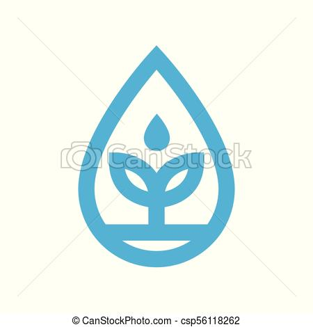 450x470 Eco Water Icon. Blue Plant Grows In Water Drop Symbol. Eco Water