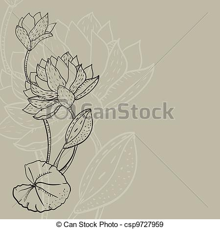 450x468 Retro Background With A Water Lily. Retro Background With A Water