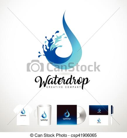 434x470 Water Drop Logo. Vector Water Drop Design With Splash. Creative