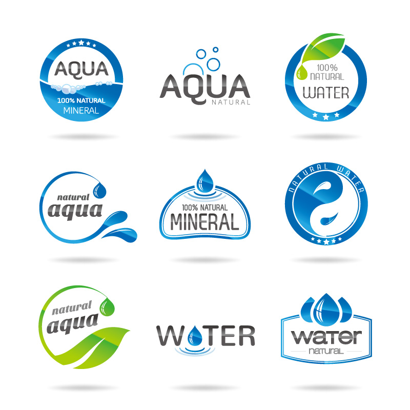 800x800 9 Water Element Logo Design Vector Icons Free 9 Water Element Logo