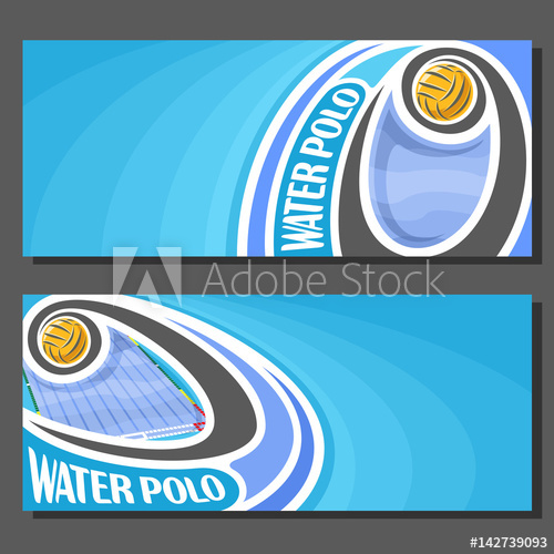 500x500 Vector Banners For Water Polo Game Water Polo Ball Flying On