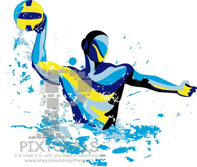 642x546 Water Polo Player Vector Set Of Eps Jpeg Png Editable Etsy