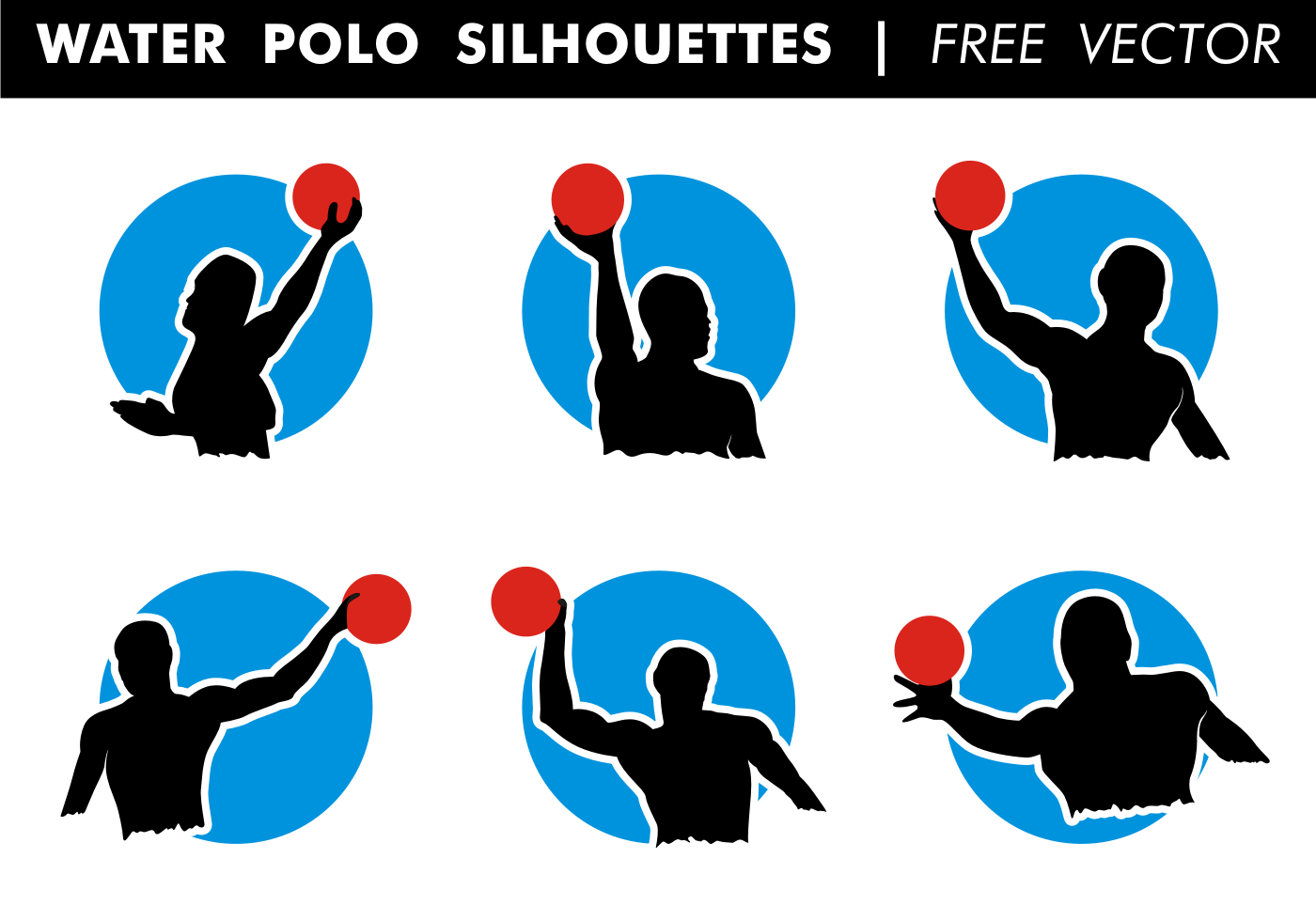 1400x980 Water Polo Silhouettes Vector