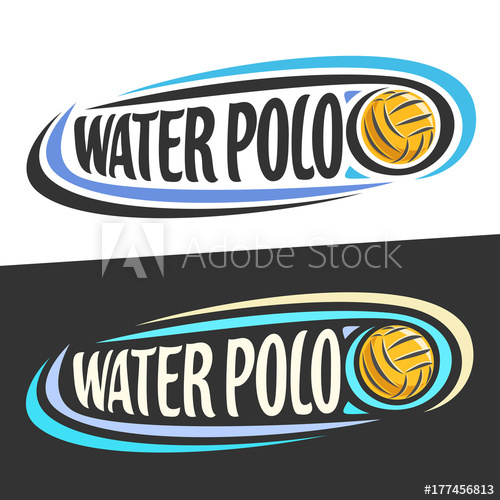 500x500 Vector Logos For Water Polo Sport, Flying Ball And Handwritten