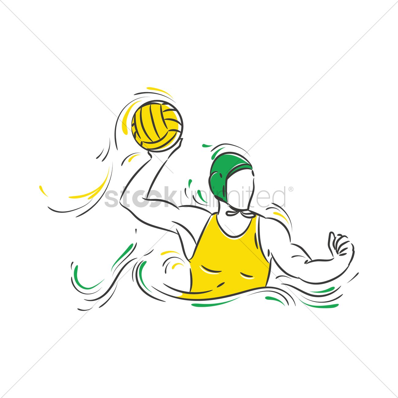 1300x1300 Athlete In A Water Polo Game Vector Image
