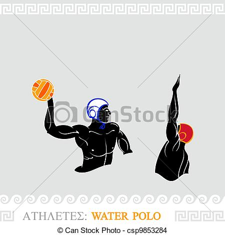 450x470 Athlete Water Polo Players. Greek Art Stylized Water Polo Players