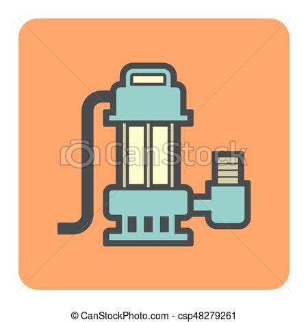 450x470 Water Pump Icon. Vector Icon Of Electric Water Pump Or Submerge