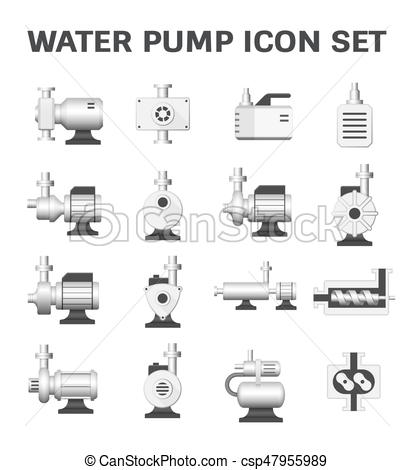 414x470 Water Pump Icon. Vector Icon Of Water Pump Station For Water