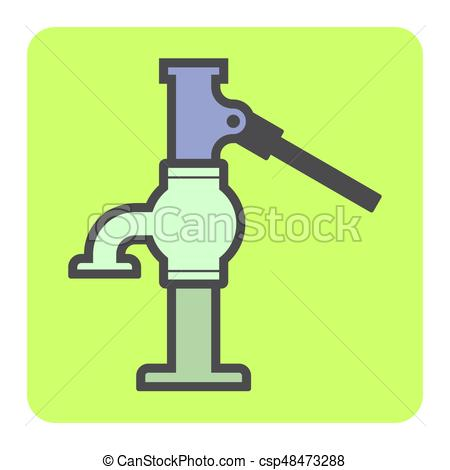 450x470 Water Pump Icon. Vector Icon Of Water Well Pump. Vector
