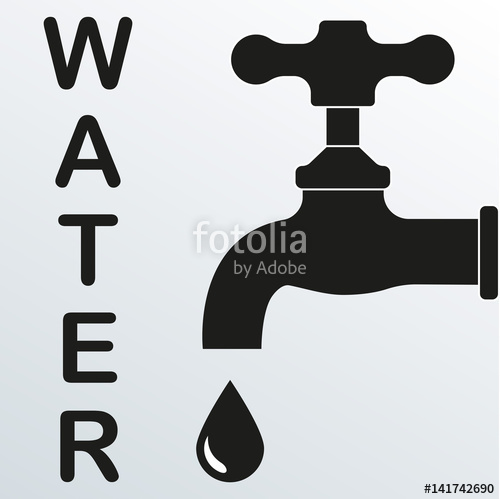 500x499 Faucet Icon. Vector Illustration Of Tap Or Faucet With Drop. Water