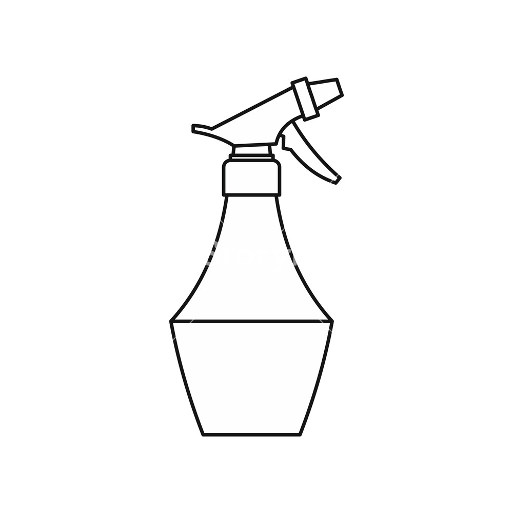 1000x1000 Water Spray Bottle Icon In Outline Style Isolated On White