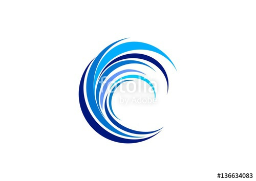 500x354 Wave Circle Logo, Swirl Blue Waves Water Symbol Icon, Letter C