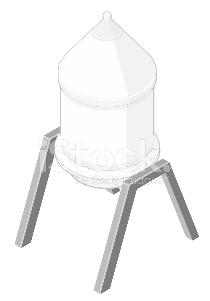 716x1024 Isometric Water Tower Stock Vector