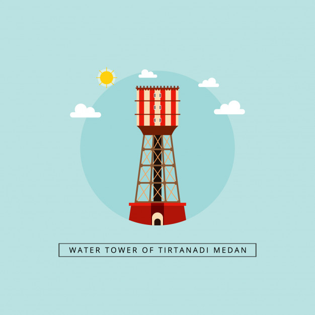 626x626 Water Tower Of Tirtanadi Medan Vector Premium Download