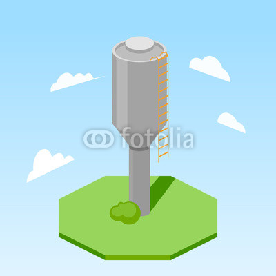 400x400 Water Tower Building Isometric Vector Illustration Buy Photos