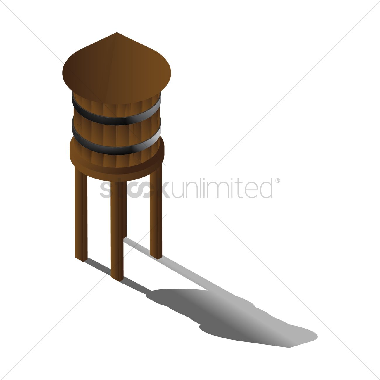 1300x1300 Wooden Water Tower Vector Image