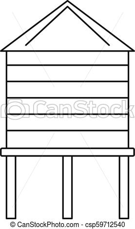 277x470 Farm Water Tower Icon, Outline Style. Farm Water Tower Icon