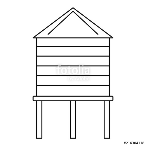 500x500 Farm Water Tower Icon. Outline Farm Water Tower Vector Icon For