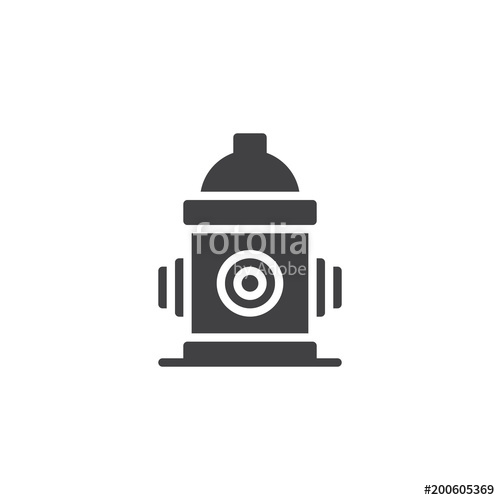500x500 Fire Hydrant Vector Icon. Filled Flat Sign For Mobile Concept And