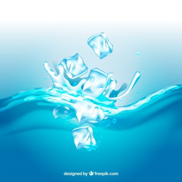 626x626 Realistic Background With Ice Cubes And Splashing Water Vector