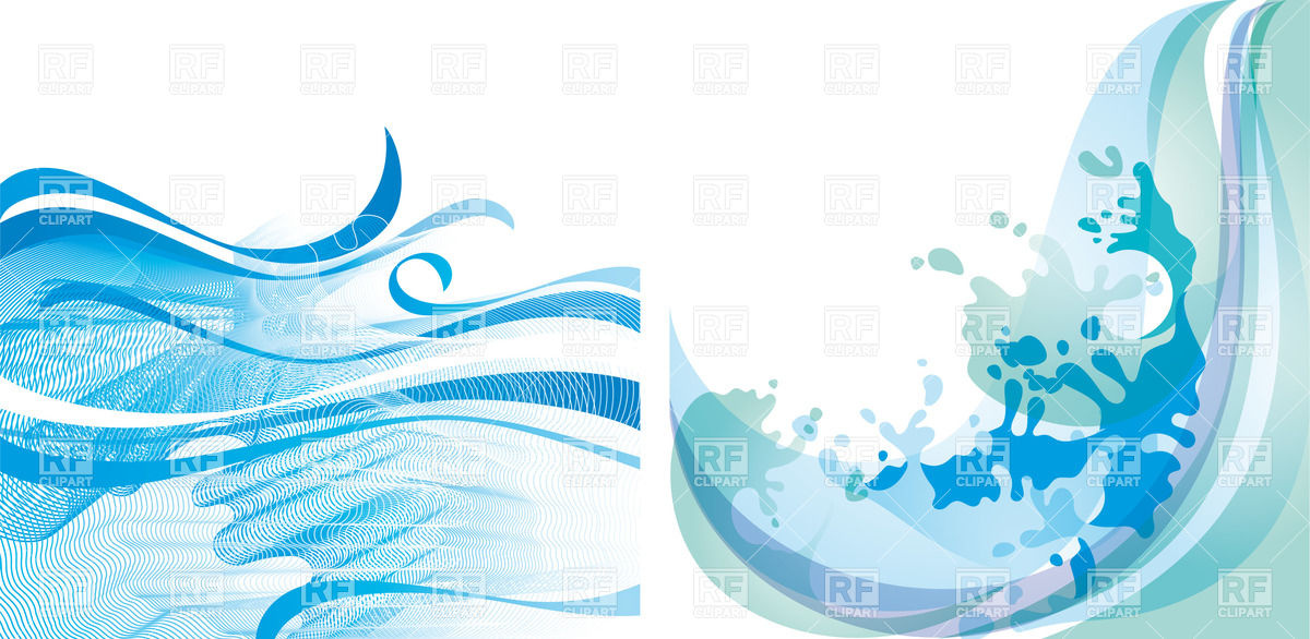 1200x586 Water Splashes Background With Abstract Waves Vector Image
