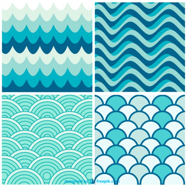 626x626 Water Waves Retro Patterns Vector Free Vector Download In .ai