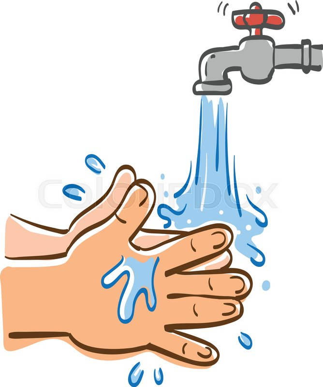 668x799 Cleaning Hands With Water, Vector Graphic Illustration. Stock