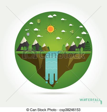 450x470 Landscape Illustration. Mountain River, Waterfall, Mountains